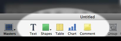Click one of theese buttons in order to insert graphics into your keynote presentation