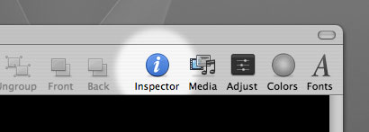 In Keynote, just click the Inspector icon in order to open the Inspector