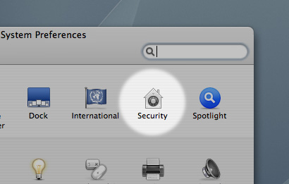 In system preferences, click the Security icon