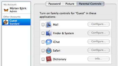 Parental controls for a guest account