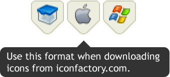 Click the Apple logo in order to get the right format when downloading from Iconfactory.com.