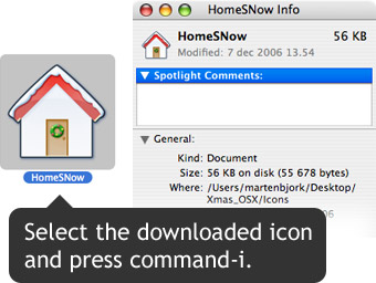 Select the new icon and press command-i.
