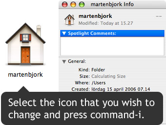 Select the icon you wish to change and press command-i.