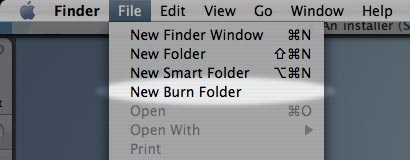Create a new burn folder
