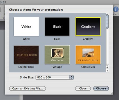 In keynote, choose one of the many available templates