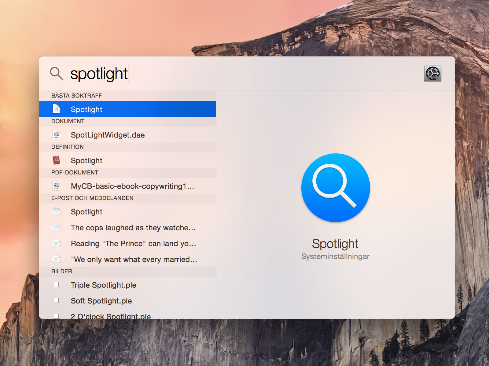 how to spotlight search messages